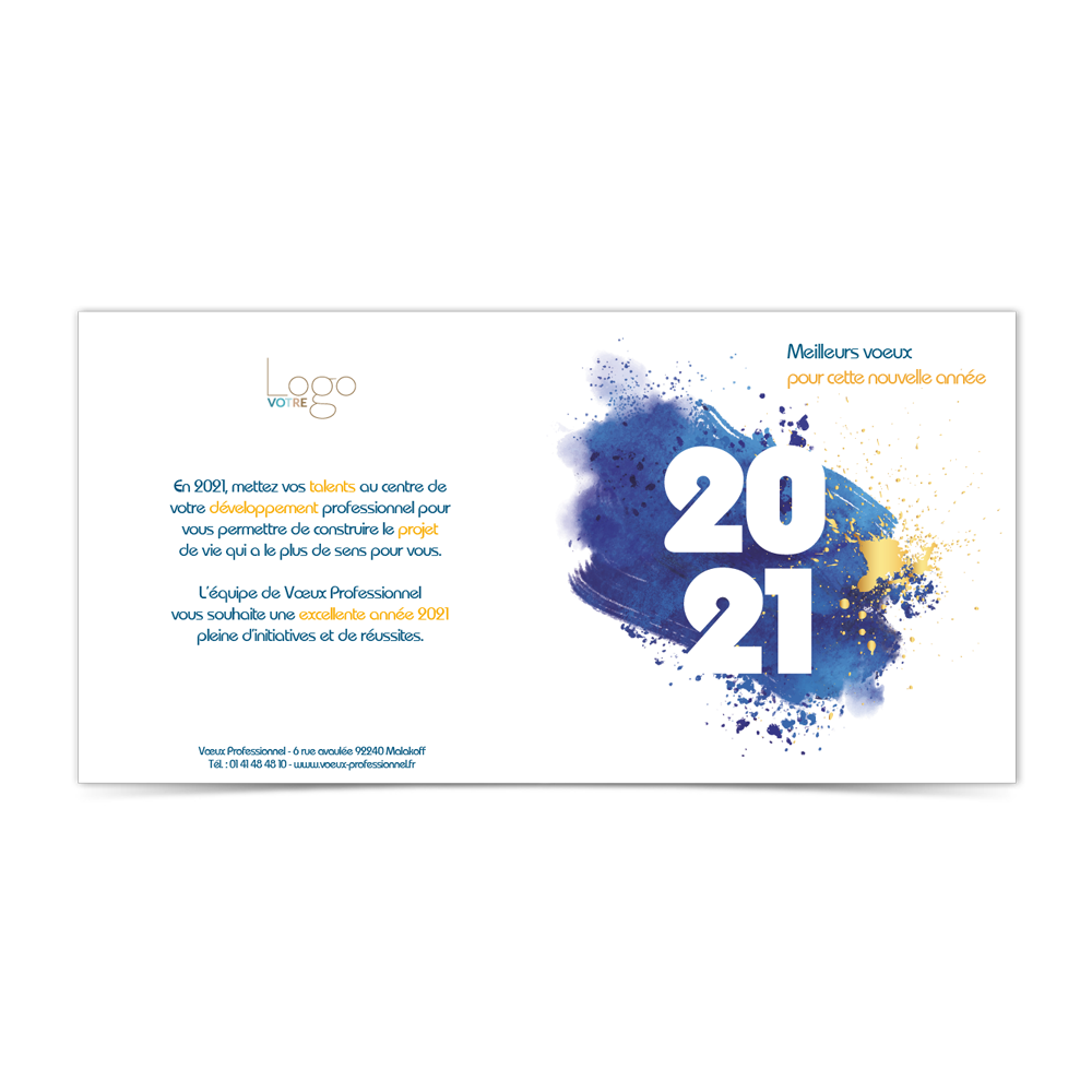 Carte de Voeux Virtuelle 2021 Statique - Bleue Splash