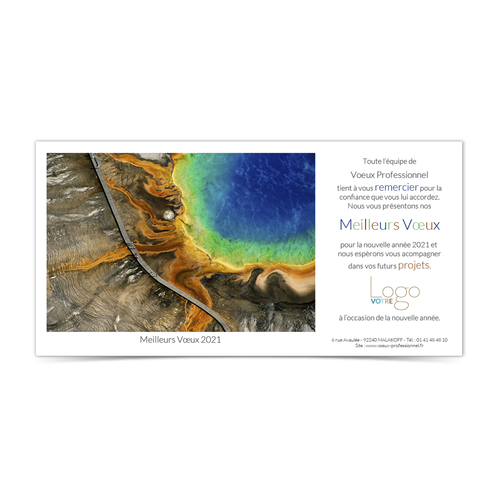 Carte de Voeux Virtuelle 2021 Statique - Source Chaude du Grand Prismatic